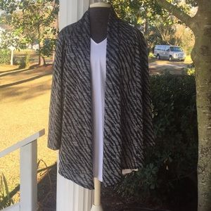 Chico's silver/black Open Front Cardigan, Size 1